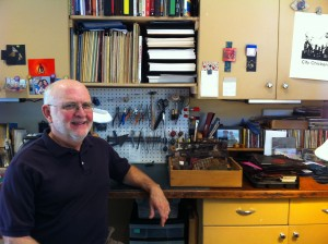 Lou in his bookmaking studio